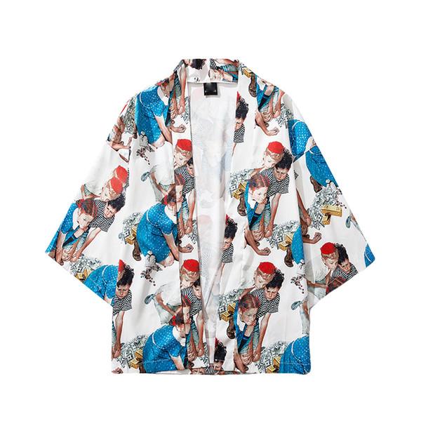2019 Hombres Chaqueta streetwear Nueva Moda Cárdigan Estampado nacional Abrigos sueltos Tops chaqueta hombre casaco masculino