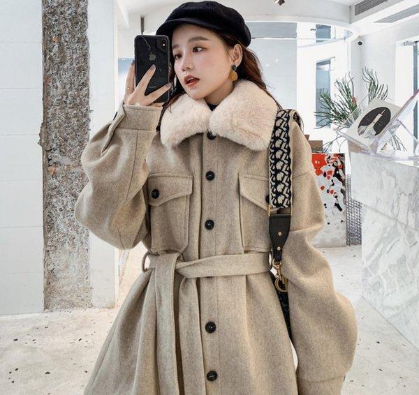 célébrité web style étranger petite laine manteau taille femme étroite suiting manteau de laine de revers poitrine simple ceinture de femme mince