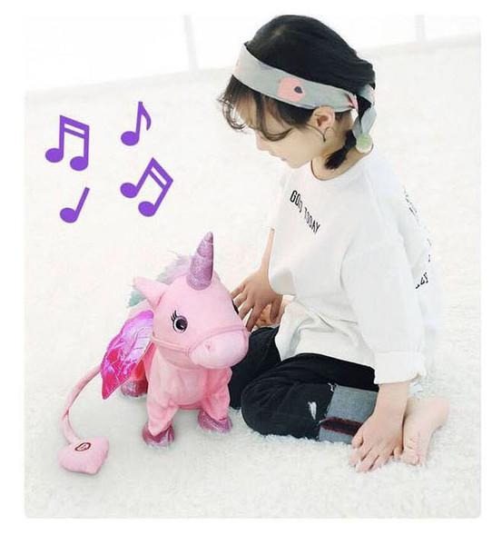 Électrique marche peluche peluche animal jouet musique électronique licorne jouet pour enfants cadeaux livraison gratuite
