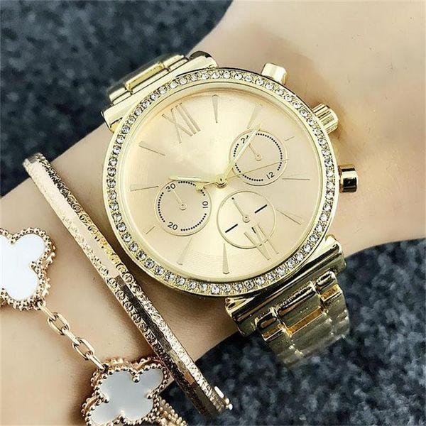 Las mujeres de moda de las mujeres de cristal Fake 3-eye Dials estilo 36mm Relojes de cuarzo de las mujeres banda de acero inoxidable reloj de pulsera de cuarzo al por mayor