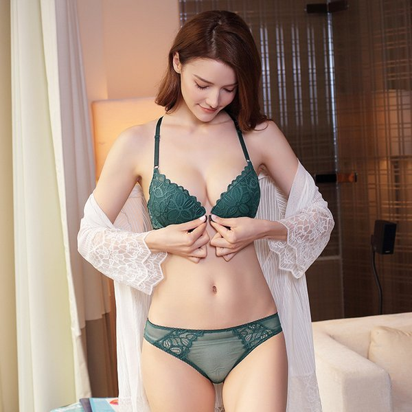 Envío libre nuevas mujeres del botón del frente del sujetador del traje de las señoras que reúnen gruesa conjunto de ropa interior de encaje sexy conjunto de ropa interior de encaje