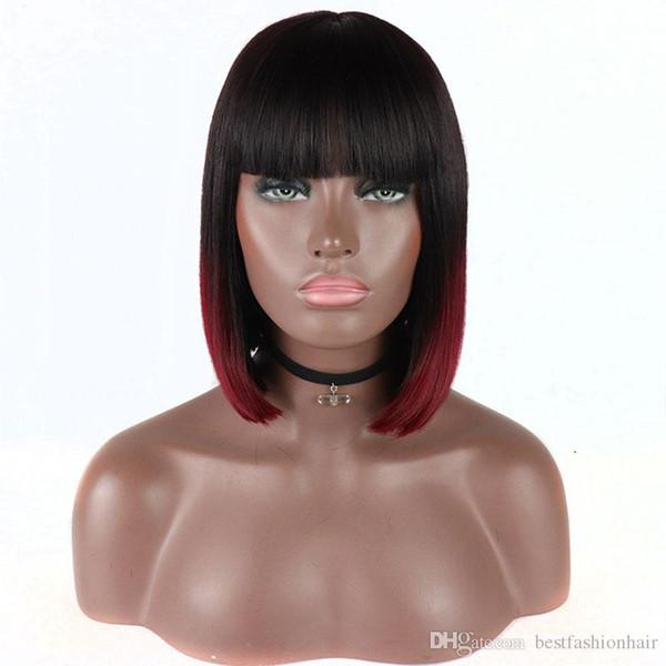Court Straight Lace Front Perruques Couleur Noir Ombre Vin Rouge Haute Température Fiber De Cheveux Court Bob Cheveux Pas Cher Synthétique Lacefront Perruques Pour Blac