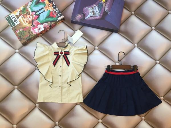 Children's Fashion Children Short sleeve designer luxury Skirt Girl In Dress Embroidery Woven fabric surface + pure cotton interior 0606