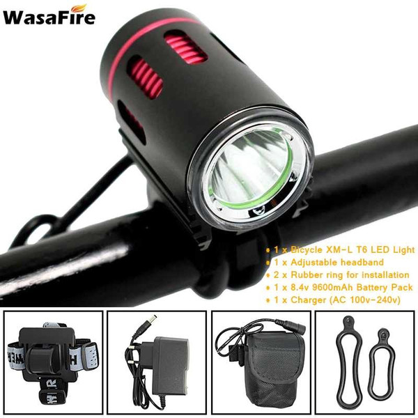 WasaFire Bicycle Light XM-L2 LED 2000 Lumens 4 Modes Front Bike Head Light Battery Pack Charger Riding Cycing bike light Gift #79012