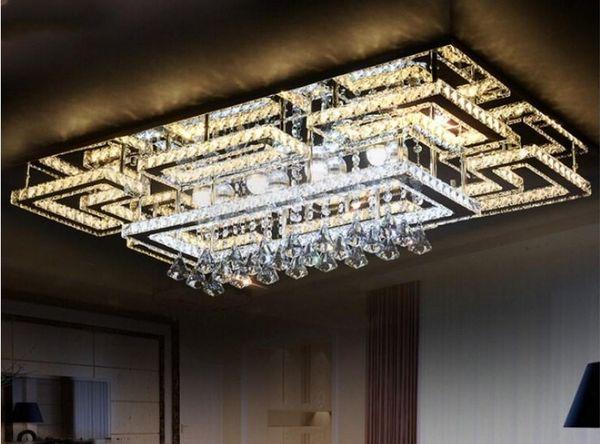 Lujo moderno LED de cristal de techo luz cuadrada de la lámpara de techo K9 de cristal candelabros de techo para sala de estar dormitorio restaurante lámparas