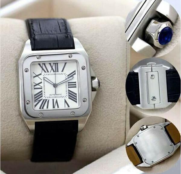 Yeni Erkekler iki ton 100 XL İzle Otomatik Mekanik İzle Kahverengi Deri Gümüş Durumda erkek Spor orijinal toka Saatı