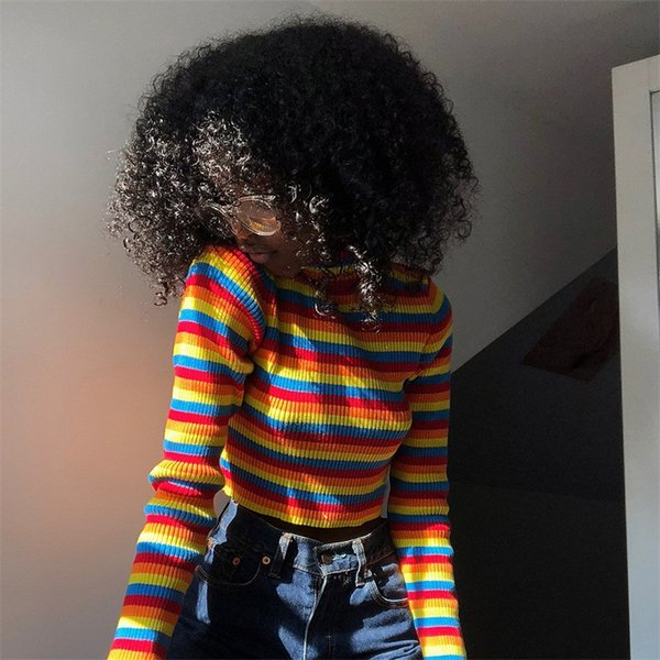 Women's Knits & Tees 2019 Spring New Fashion Stripe Long Sleeve Tight Color Pattern Tops Sexy Turtleneck Sweater Cute Clothing