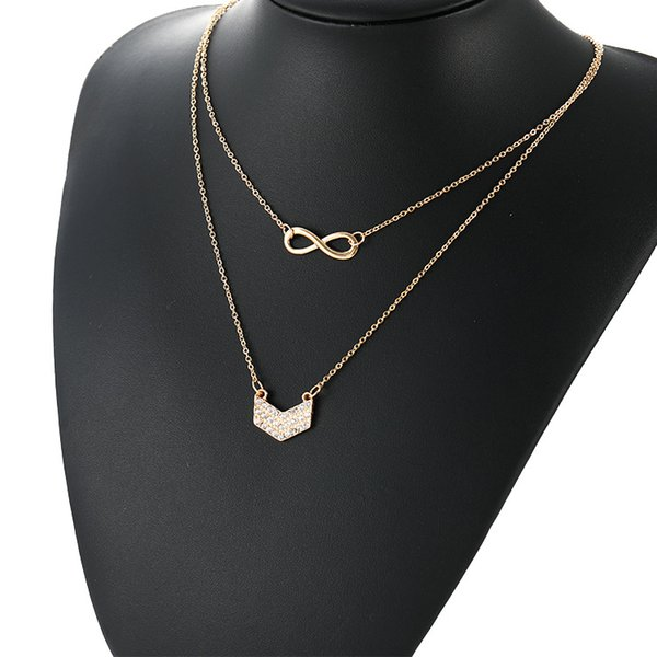 European and American Creative Money Jewelry with Diamond Lucky Eight-Character V-shaped Pendant Lady's Multilayer Diamond Necklace Cross-bo