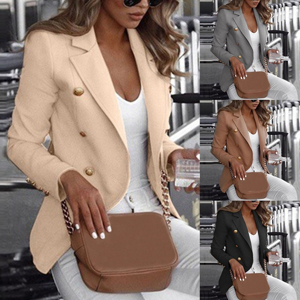 Fashion Slim Fit double breasted manches longues femmes Bouton Costume Blazer travail de bureau Lady Veste Automne plus Size Coat