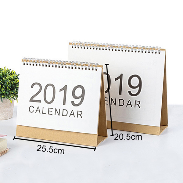 top popular Office Desktop White Stand Simple Large Size 20.5*25.5cm Calendar 2019 Writable Weekly Planner Monthly List Plan Daily Calendar DH0645-2 T03 2020
