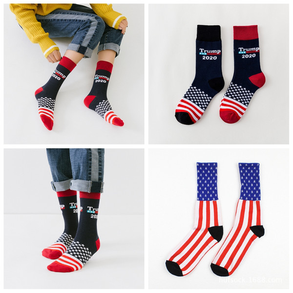top popular Women Trump 2020 Crew Socks Striped Stars US Knit Sports Socks Stockings Hip Hop American flag Sock Streetwear LJJA2340 2021