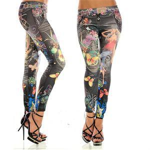 Elastic Ankle-length Slim Punk Style Faux Denim Pencil Pants Sexy Women Leggings Butterfly Flower Printed Imitation Jeans