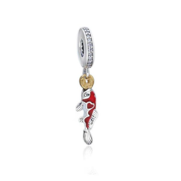 925 sterling silver beads accessories new koi new year good luck charm for Pandora charm bracelet DIY jewelry production