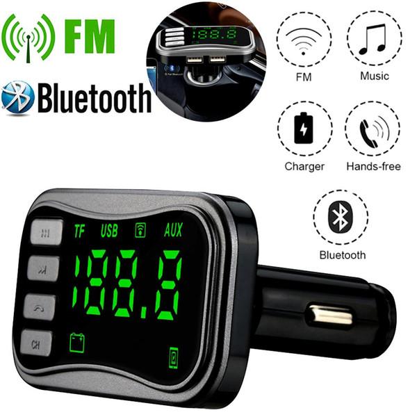 """BT04 Bluetooth Car Mp3 Player Wireless Handsfree Car Kit FM Transmitter A2DP Dual USB MP3 1.5"""" LCD Display FM Modulator"""