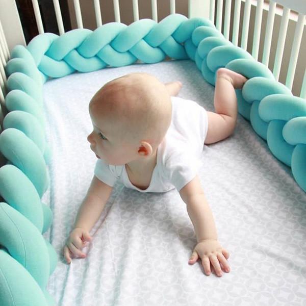 1 m / 2 m / 3 m de longitud nórdico recién nacido nudo larga trenza anudada almohada Bebe bebé parachoques en la cuna infantil decoración de la habitación Q190530