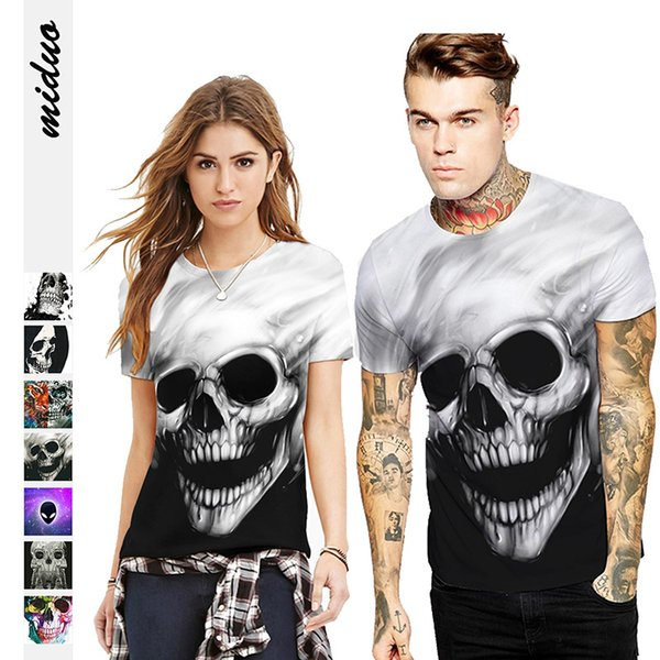 Cross-border Explosive Digital Printing Pullovers Couple T-shirts Fashion Street Men's and Women's Summer Leisure Short-sleeved Shirts Tide