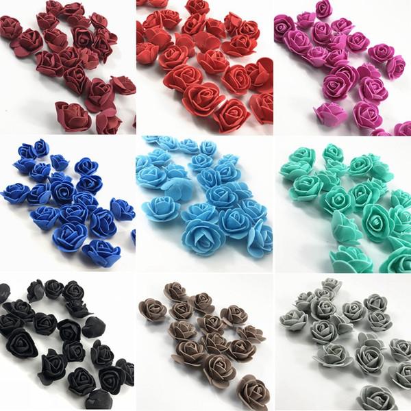 500pcs / set Fleurs Rose Artificial handmake Roses mousse Faux Corolle Real Touch DIY pour la décoration de mariage cadeau Faire HHA992
