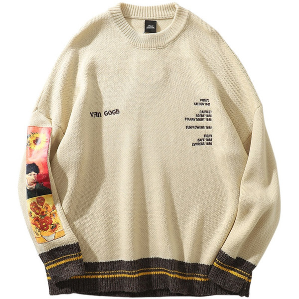 top popular 2019 Men Hip Hop Sweater Pullover Streetwear Van Gogh Painting Embroidery Knitted Sweater Retro Vintage Autumn Sweaters Cotton 2020