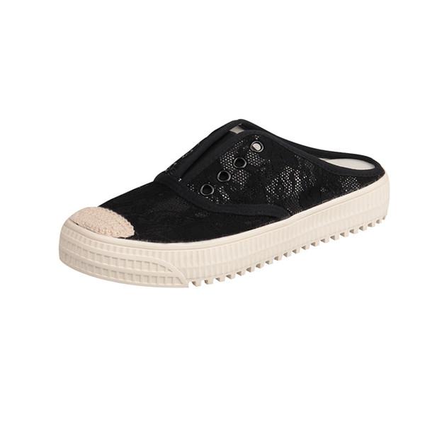 Женские плоские туфли 2019 Летние дышащие кружевные женские полусапожки Корейский стиль Женские летние плоские кроссовки Полусапожки