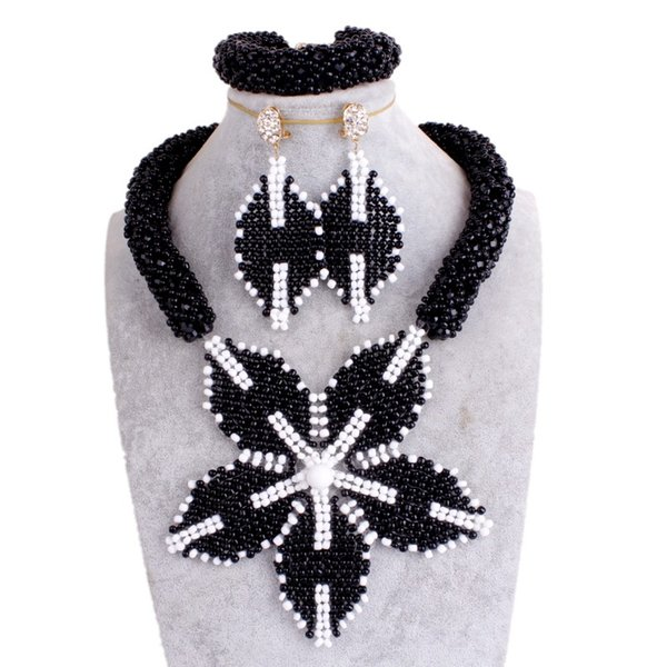 Fashionable Bridal Jewelry Sets Crystal Necklace Black And White Big Flower Women Costume Choker Necklaces Free Shipping 2018