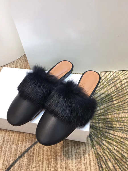 New Winter 2018 Ladies Slipper with Leather Flat Bottom Rabbit Hair Slippers and Half Slippers with Low-heeled Steamed stuffed bun slippers
