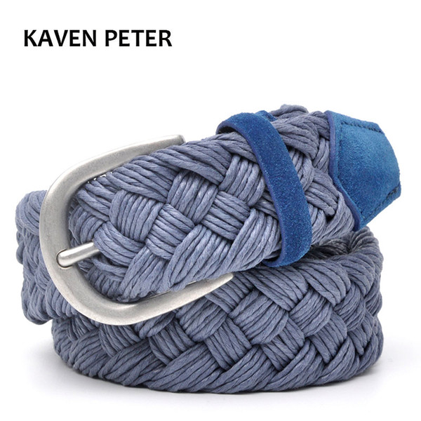 Cinturón trenzado de cuero de ante con cuerda de cera tejida sin agujeros Tejido de algodón Cinturones azules Cinturones de trabajo manual de 30