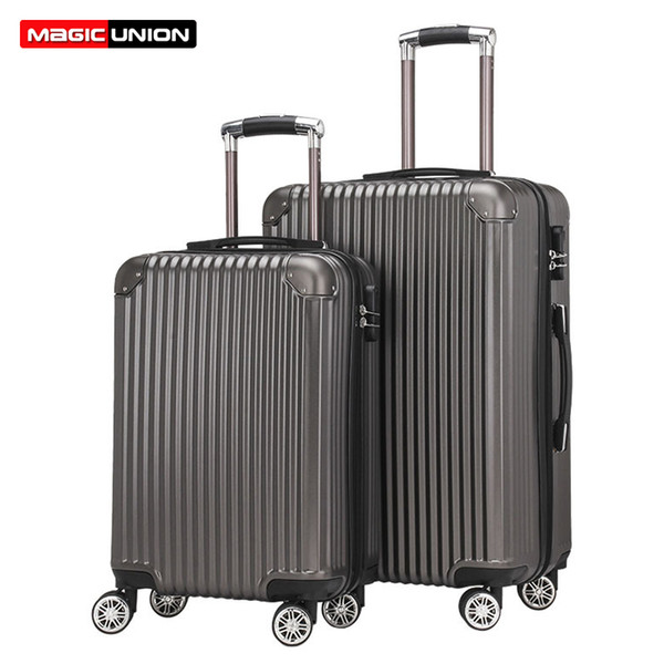 """MAGIC UNION 20""""24"""" inch PC Rolling Luggage Travel Suitcase Aluminum Spinner Trolley Suitcase on Wheels Student Travel Bags"""
