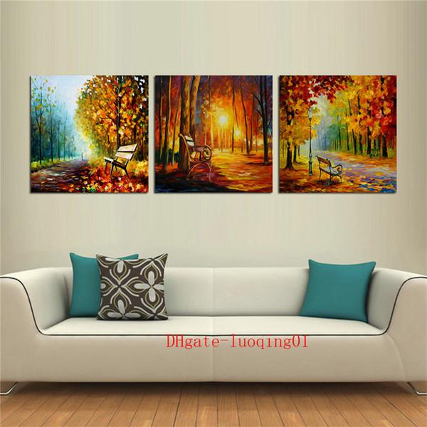 Árvores De Banco De madeira Estrada, 3 P Peças de Lona Decoração de Casa HD Impresso Modern Art Pintura em Tela (Sem Moldura / Emoldurado)