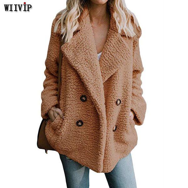 Großhandel Starke Damen Mischung Jacke Mantel Frauen Herbst Winter 2019 Lose Warme Pelzmantel Weibliche Plus Größe 3XL Kamel Vintage Mantel 9478 Von