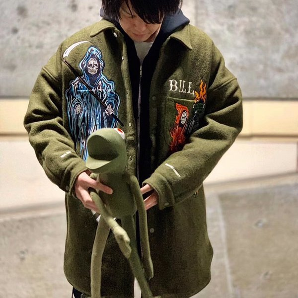 19SS Readymade Warren Lotas Jacket Death Embroidery Wool Buddhist Nun Overcoat Loose Coat Long Men And Women Heavy Industry Coat HFWPJK131
