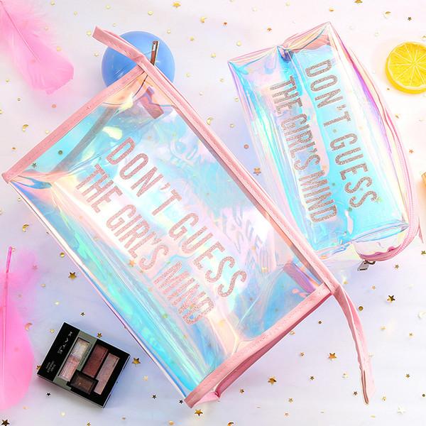 Grande capacité Transparent Sac De Maquillage Au Laser Mignon Ravel Sac Suspendu Trousse De Toilette Trousse À Laver Cosmétique Sacs 4 Couleurs Couleur Mélangée
