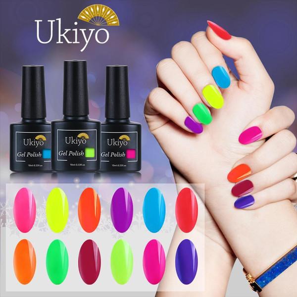 best selling Ukiyo 10ml Fluorescent Neon Nail Gel Polish Soak Off UV Gel Nail Polish Candy Color Nail Art Gel Varnish Manicure Nails Lacquer