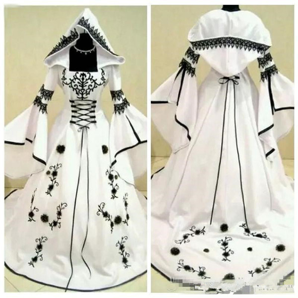 Classic A-Line Black Lace Embroidery White Satin Gothic Wedding Dresses With Hat Flowers Adorned Vestidos De Mariee Plus Size Bridal Gowns