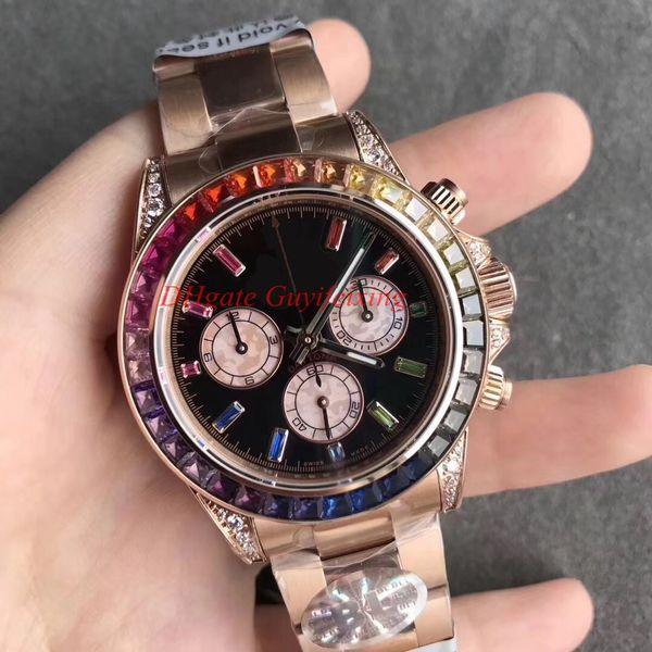 Luxe Hommes Diamond Watch automatique Cal. 4130 Chronographe 40 mm 116595 116598 116599 Bezel arc-en-BL usine Hommes or Cosmograph Montres