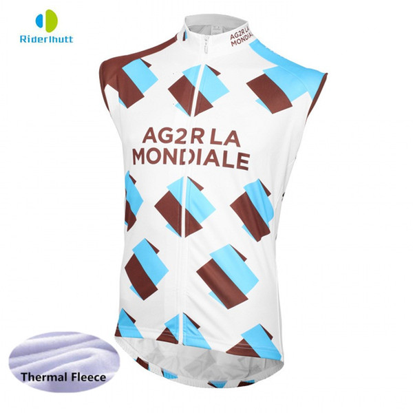 2018 winter fleece team AG2R cycling vest super Breathable warmer jerseys windproof vest quick-dry clothing Bicycle maillot