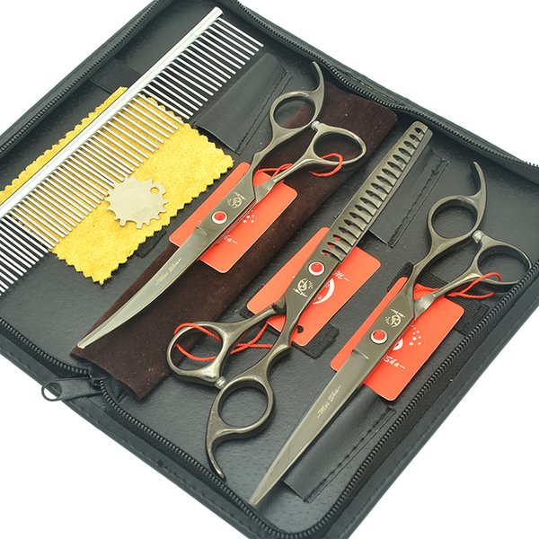 """Meisha 7"""" Japan Pet Scissors Dog Grooming Clippers Set Straight & Curved & Thinning Shears Animals Hair Cutting Tools Kit HB0242"""