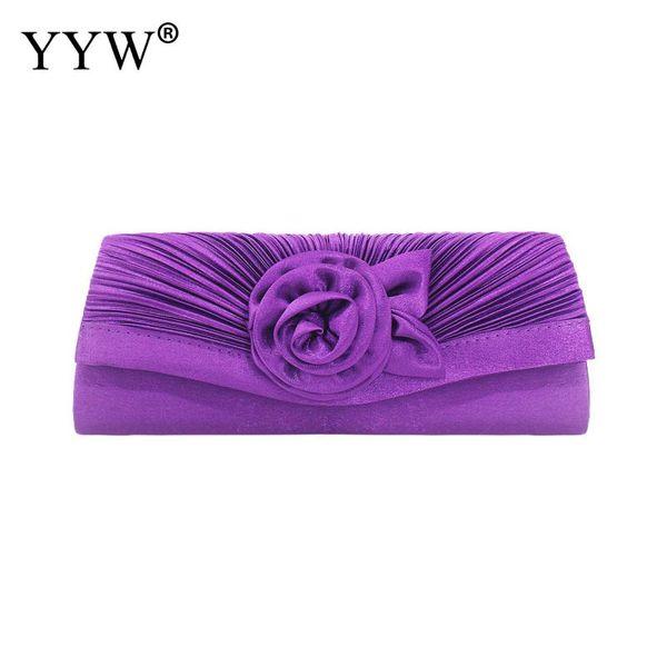 Femme Wedding Brial Clutch Bag Evening Hand Bag Ruched Silk Cocktail Evening Handbags Clutches Flower Gorgeous Silk Pochette