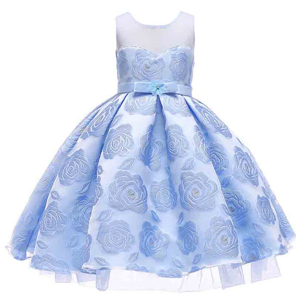 Formal Dress Clothing For 2-10 Years Flower Girl Princess Christmas Party Dresses With Diamond and Bow Children Kids Prom Gown