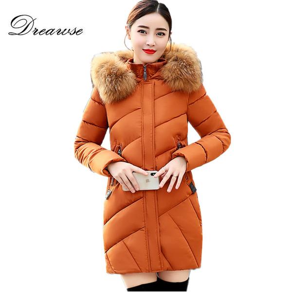 Dreawse Winter Wadded Baumwolle Frauen Lange Dicke Dünne Mit Kapuze Großen Pelzkragen Daunenjacke Plus Size Jacke Outwear Mujer Tops MZ3228