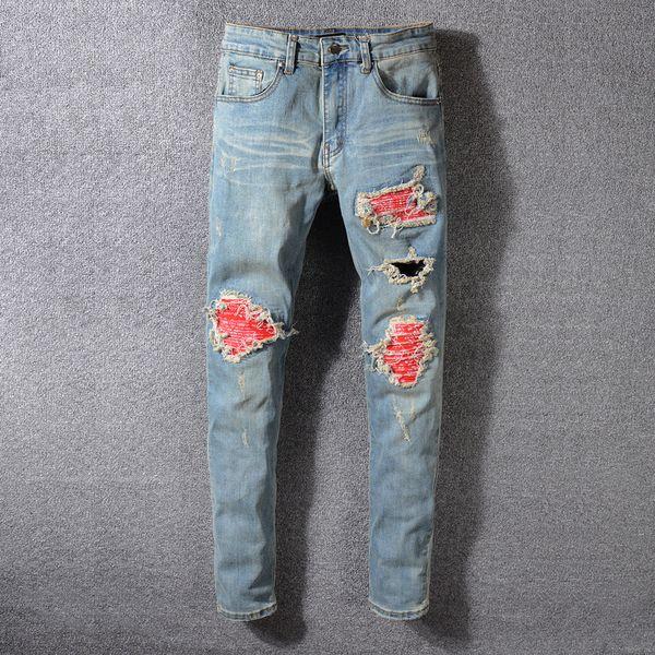 Мужские дизайнерские джинсы Ами бренд брюки Хай-стрит мужские дизайнерские брюки тенденция отверстие патч мужские джинсы панк ветер тонкие ноги брюки роскошные джинсы