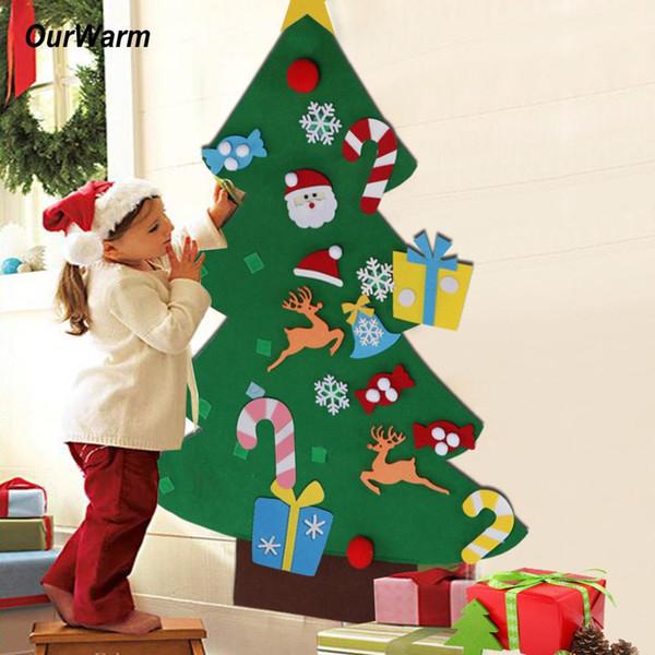 OurWarm Enfants bricolage feutre Arbre de Noël Ensemble Ornement Nouvel An Cadeaux de Noël de bébé Jouet artificiel Arbre éponte Décoration de Noël