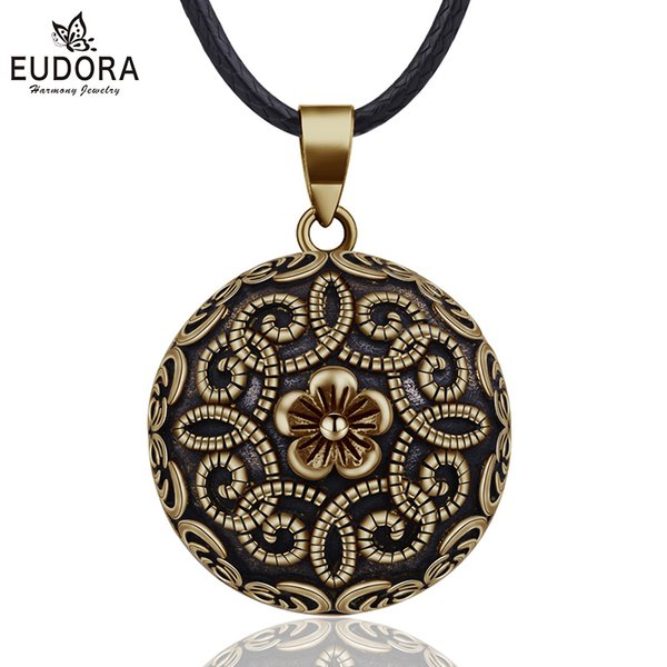 wholesale 20mm Gorgeous Flower Mexican Bola Harmony Chime Ball Pregnancy Baby Pendant Necklace for Women Vintage Jewelry N14NB322