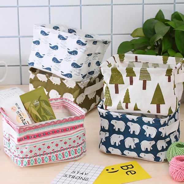 Waterproof Desktop Storage Basket Folding Cartoon Print Organizer Cabinet Storage Bag Durable Cotton Linen Sundries Storage Box DH1229