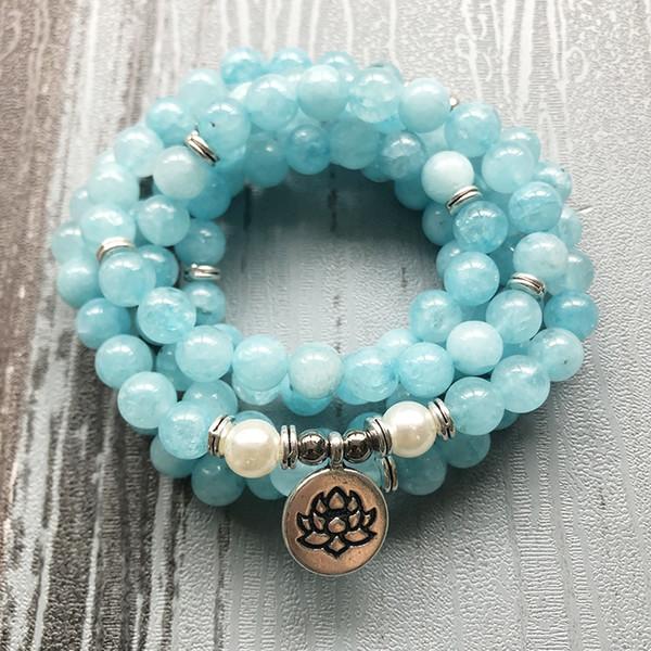 108 Blue Stone Mala Bracciale o collana Lotus Yoga Gioielli Healing Stone Multi-avvolgimenti Om Boho Bracciale gioielli per unisex