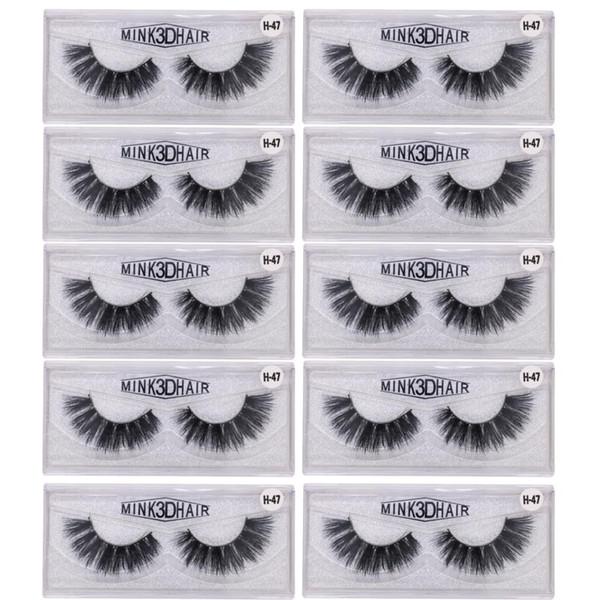 10 Pairs/lot False Eyelashes Faux 3D Mink Eyelashes Crossing Fake lashes Hand Made Strip Eyelash Extension Beautiful Package