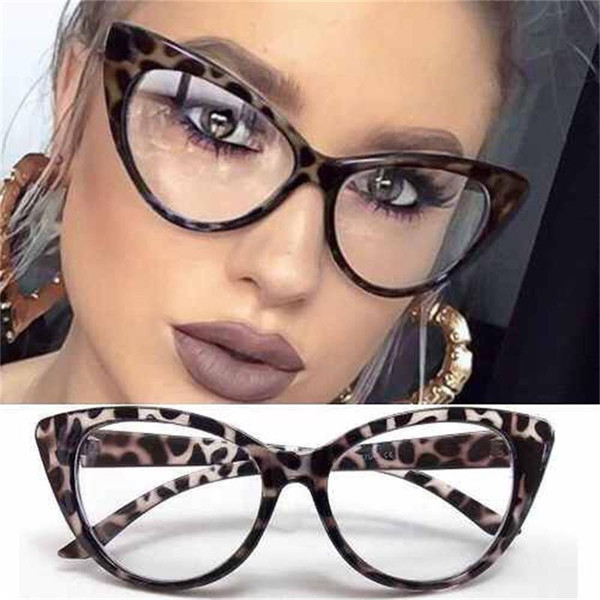 Ojo de gato Marcos ópticos anteojos vintage Gafas de computadora transparentes Marca de moda Mujer Gafas de leopardo Gafas con lentes transparentes