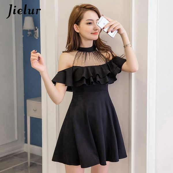 wholesale Elegant Off Shoulder Dress Summer S-XXL Korean Hipster Black White Vestido Mujer Sexy Slim Ruffle A Line Dresses