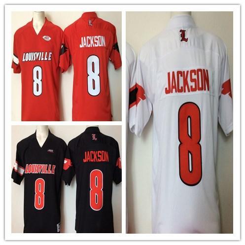 NCAA Mens Louisville Cardinals college jerseys Black Red White 8 Lamar Jackson Football men Jerseys good quality