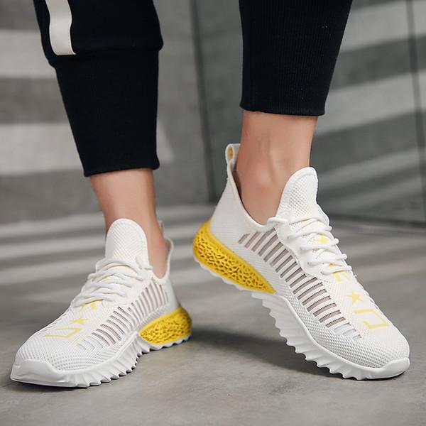 Cool2019 Sí Zapatillas de deporte para hombre Pescado rallado Ventilación Zapatos para moscas Fideos para todos los partidos de la red Pequeño zapato blanco Boom
