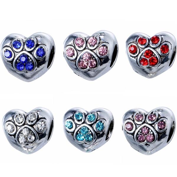 Retro Bear Dog Paw Granos de la aleación del agujero Rhinestone perlas Diamante suelta perlas para el encanto europeo pulsera regalo